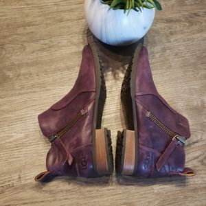 UGG Purple Ankle Boots Zip 7.5 Leather Booties
